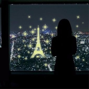 3D Fluorescent Luminous I Love Paris Tower PVC Wall Stickers - intl