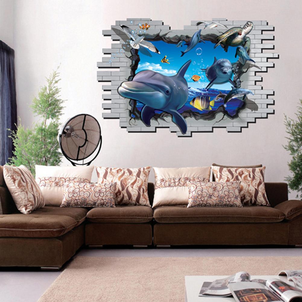 HEMAT 3D Ikan Lumba Lumba Air Laut Dunia Stiker Dinding