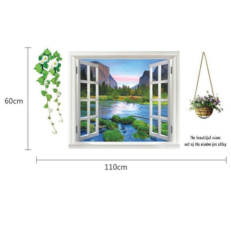 3D palsu Mediterania jendela hijau daun bunga-bunga dinding stiker PVC rumah .