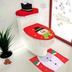 3pcs Set Christmas Bathroom Decorations Toilet Seat Cover U Shaped Rug Tank