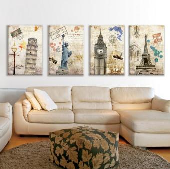 harga 4 buah karya seni tanpa bingkai lukisan cat minyak di atas kanvas pada dinding bercorak Eropa yang terkenal Gambar Dekorasi Rumah Lazada.co.id