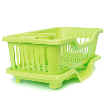 4-Color Kitchen Dish Sink Drainer Drying Rack Wash Holder Basketorganizer Tray Green - intl