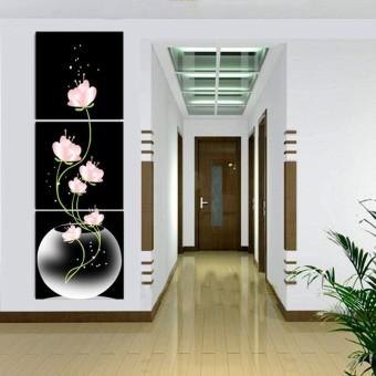 harga 40 cm x 40 cm 3 panel bunga-bunga indah dicetak di atas kanvas dekorasi rumah dinding seni lukisan cat minyak tanpa bingkai Lazada.co.id