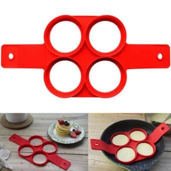 4/7 Holes Egg Cooker Non-Stick Silicone Fired Egg Mold Pancake Mold Cake Maker With Round/Heart/Square/Flower Shape Specification:4 Holes Round Shape - intl