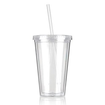 500mL Plastic Drinks Cup Liquid Beaker Lid + Straw for Party IcedCoffee Juice White- intl