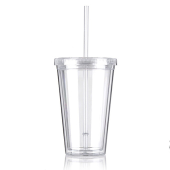 500mL Plastic Drinks Cup Liquid Beaker Lid + Straw for Party IcedCoffee Juice White- intl - 4