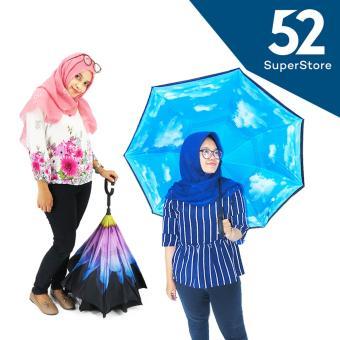 52 Home Payung Terbalik Gagang C / Reverse Umbrella / Payung Modern - Random Motif 110X80