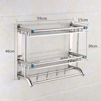 59cm*14cm*46cm, Stainless Steel Bathroom ShelvesTwo Layer Towel Holders Bath towel Rack with Hooks Wall Mounted Double Deck - intl