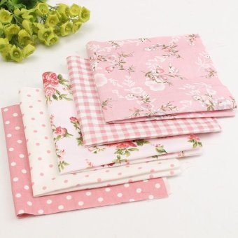 5PCS Assorted Dot Fabric Cotton Cloth Pink Material Vintage ShabbyChic Summer DIY - intl