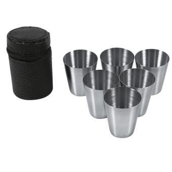 6 pcs Stainless Steel portabel teh cokelat kehitaman cangkir 30ml Mug bir + casing menggunakan untuk