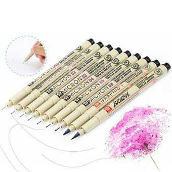 8x Sakura Pigma Micron Drawing Pen 005 01 02 03 04 05 08 1.0 Brus Supplies Beige - intl