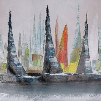 ... Abstrak dekorasi dinding Modern besar lukisan cat minyak di atas kanvas seni perahu (tanpa frame