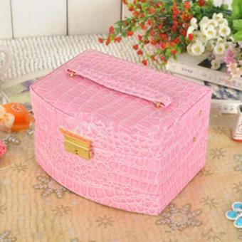 Ai Home 3 Layers Crocodile Grain Charms Jewelry Watch Storage BoxCase (Pink)