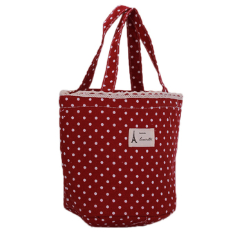 Ai Home Portable Polka Dot Lunch Bag Cooler Bag Dark Red