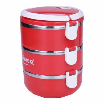 Shock Price AIUEO Eco Lunch Box Stainless Steel Rantang 3 Susun Glossy penjualan - Hanya Rp46