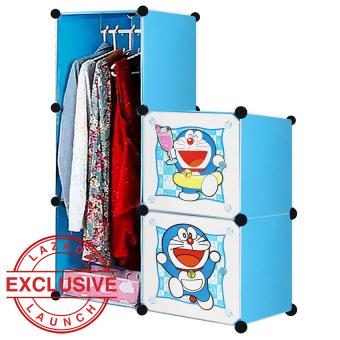 AIUEO Lemari Pakaian Motif Doraemon 2 Pintu 3 Kotak 1 Gantungan Type 5.11 - Biru
