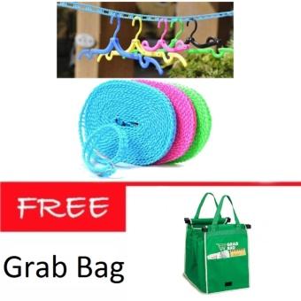 AIUEO Tali Jemuran 5 meter Serbaguna Baju Handuk Hanger + Grab Bag Kantong  Belanja Serbaguna 568c90afa3