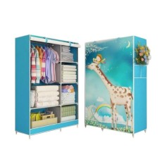 Allunique Lemari Pakaian Portable 2 Layer - Blue Giraffe