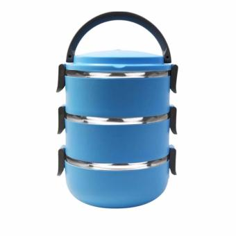 ANGEL Lunch Box Stainless Steel - Rantang 3 Susun - Blue