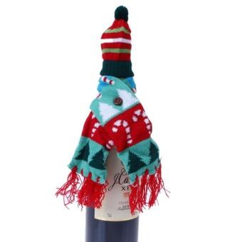 ... Anggur Tahan Botol Tutup Rajutan Natal Scarf dan Hat Decoration (Multicolor) -Natal pohon ...