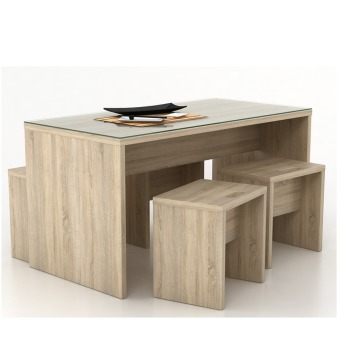 Anya-Living Set Meja Makan Menya Dinning Table 120 - Sonoma Oak
