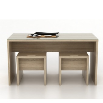 Anya-Living Set Meja Makan Menya Dinning Table 120 - Sonoma Oak - 2