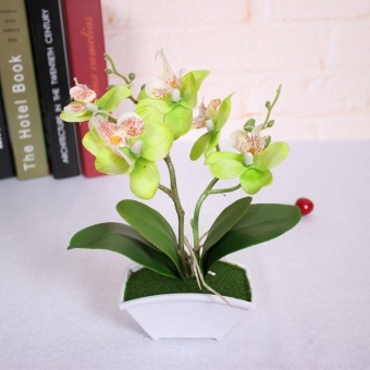 Artificial Butterfly Orchid Silk Flower Bouquet Phalaenopsis Wedding Home Decor - intl