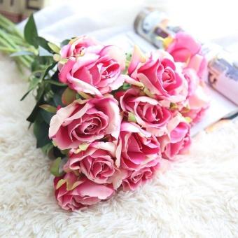 Buatan Fake Sutra Roses Bunga Buket Bunga Pengantin Pesta Pernikahan Dekorasi Rumah Berwarna Merah Muda-