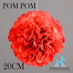 Balonasia 2 pcs Dekorasi Pesta Tissue Paper Pom Poms Flower Ball 20cm Red
