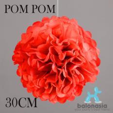 Balonasia 2 pcs Dekorasi Pesta Tissue Paper Pom Poms Flower Ball 30cm Red