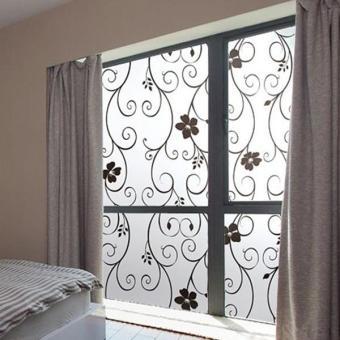 Baru 45 cm x 100 cm kaca buram jendela hitam bunga dekorasi rumah Film stiker