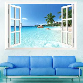 Pantai Laut 3D Window Lihat Sticker Dinding Yang Dapat Dilepas PVC Lukisan Dinding Dekorasi Rumah-