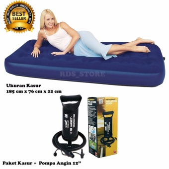 Bestway Kasur Angin Single - Blue + Bestway Pompa Angin