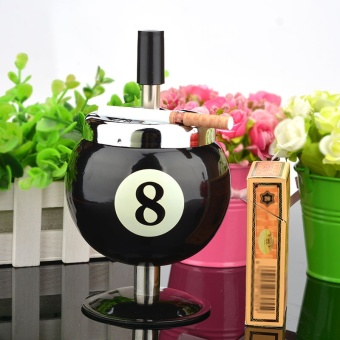 Billiards Large Fashion Personality Ashtray with Cover EuropeanStyle Ball Style Ashtray Living Room Decoration Cigarette Cup Black- intl