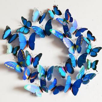 Biru Desain Stiker Dinding Seni Dekorasi Rumah Dekorasi Kamar 3D These Butterflies