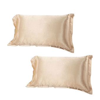 BolehDeals 2 x sutra Satin lembut bantal sarung bantal Bed standardekorasi-Tan