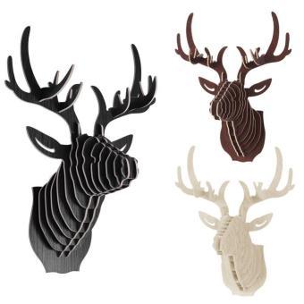 BolehDeals 3D Model rusa kayu hiasan dinding patung kepala hewanliar - kenari - Internasional - 2