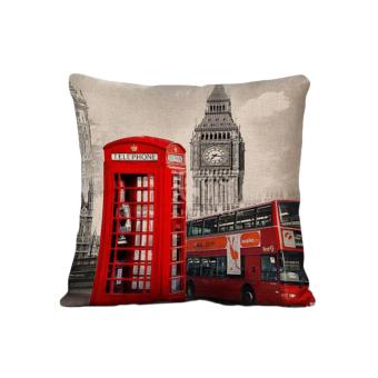 BolehDeals 45 cm x 45 cm vintage Merah bilik telepon linen bantalsofa bantal menutupi kasus dekorasi