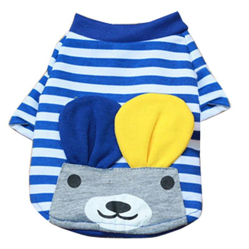 ... BolehDeals Kaos rompi kecil bergaris Musim Panas untuk HewanPeliharaan anak anjing Kucing Anjing Biru X ...