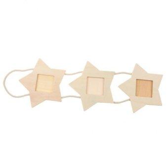 BolehDeals Phenovo Rustic Wooden Stars Triple diy Hanging PhotoAlbum Display Frames - intl