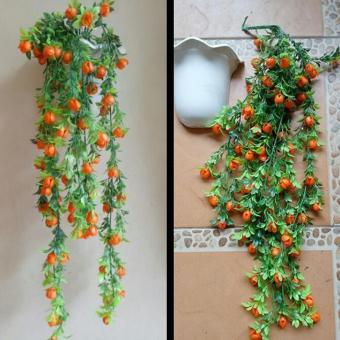 bunga artificial rambat plastik dengan pot tempel dinding