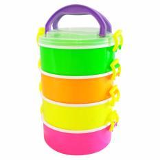 Calista Rantang Gunma Bulat Susun 4 - Multicolor