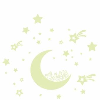 Cartoon Moon Star City Glow In Dark Luminous Fluorescen Wall DecalSticker Decor - intl - 2