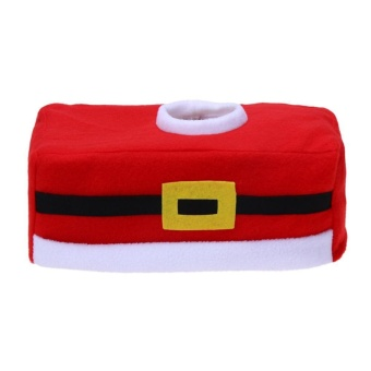 Christmas Decoration Buckle Christmas Tissue Box Cover Xmas Napkin Holder (Red) - intl
