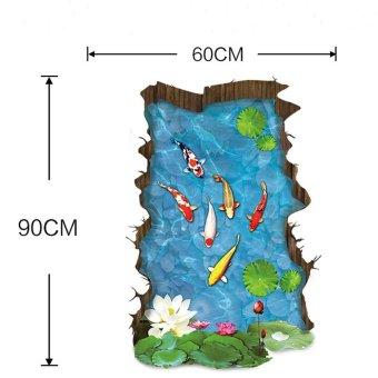 Coconie 3 d Stream lantai / dinding stiker Removable Mural Decals Vinyl seni Living Room dekorasi - 3
