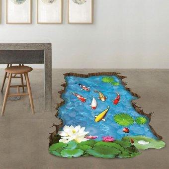 Coconie 3 d Stream lantai / dinding stiker Removable Mural Decals Vinyl seni Living Room dekorasi - 2