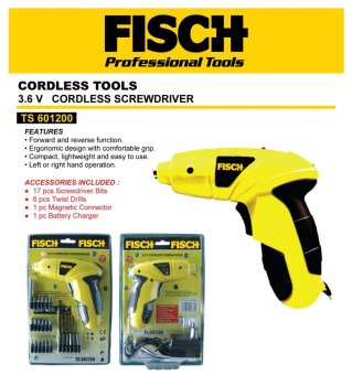 Cordless Screwdriver / Mesin Obeng / Mesin Bor Portable FISCHTS601200