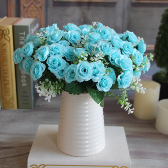Delightful 15 Buds 1 Bouquet Rose Artificial Silk Flower Decoration Decal