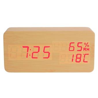 harga Digital Memimpin Mengendalikan Suara Alarm Jam Meja Kayu Termometer Pengatur Waktu Tunda Lazada.co.id
