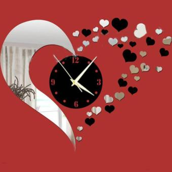 DIY 3D Hearts Mirror Wall Clock Living Room Bedroom Bathroom Decorcolor:Silver & Black - intl